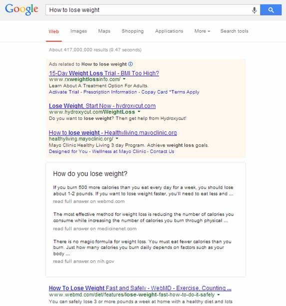 Google search - How to lose weight